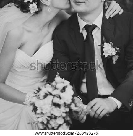 Wedding picture in black and white, couple in love.
