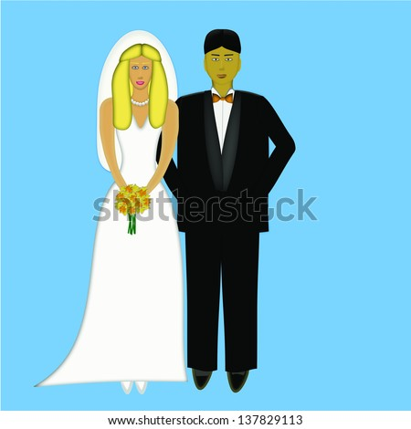 Wedding Portrait of Caucasian blonde woman with an Asian man
