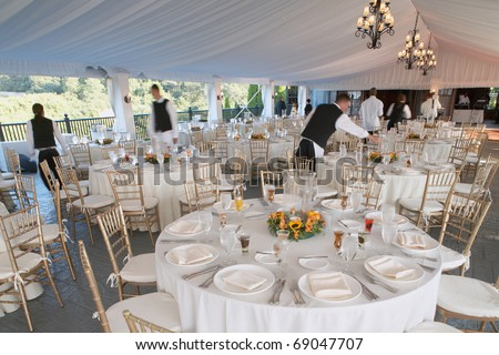 stock photo Wedding reception area ready for dinner and the party