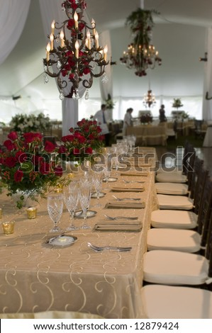 Wedding reception dinner banquet party table settings