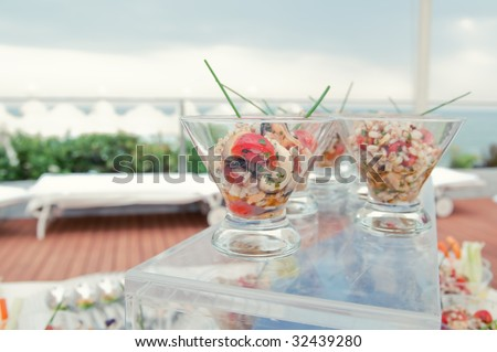 stock photo Wedding Reception Food appetizers close up