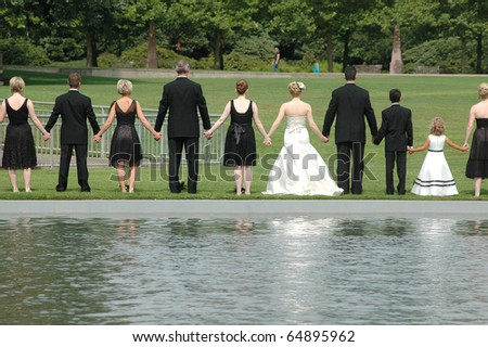 Wedding reception in a public park.