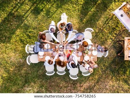 Wedding reception outside in the backyard. #754758265