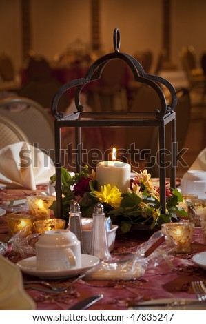 stock photo Wedding reception party table center piece