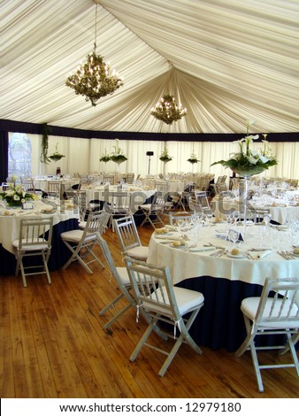 Wedding reception place ready for guests