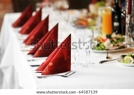 stock photo Wedding reception place ready for guests table with food and