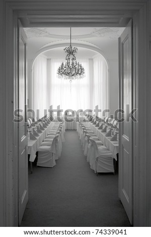 wedding reception room, black and white picture