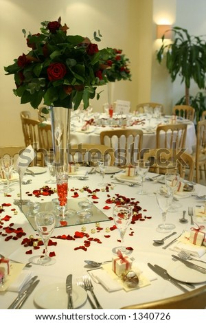 stock photo Wedding reception setting showing tables and chairs with