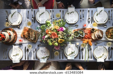Wedding Reception Table Setting Aerial Top View