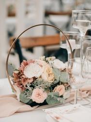 wedding reception table setting on wedding day