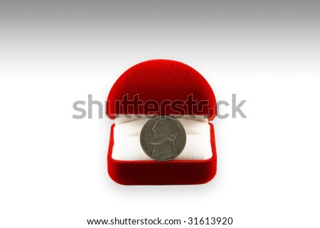 wedding ring box with coins instead of the rings
