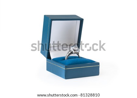 wedding ring in box over white - stock photo