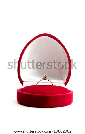stock photo wedding ring in red box