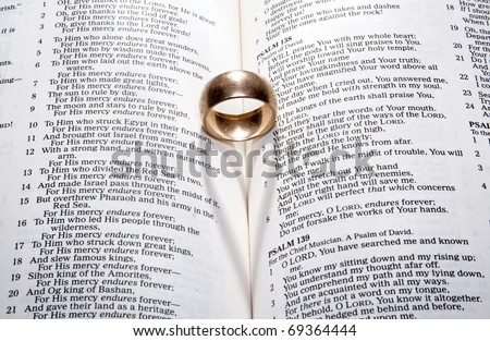 Wedding Ring on a Bible