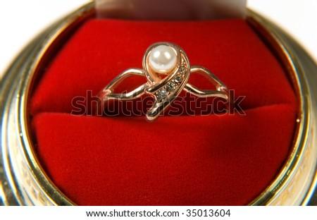 wedding ring on white background #35013604