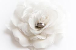 wedding ring on white rose for valentine's day