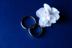 Wedding rings and engagement ring together on a blue background with a white flower