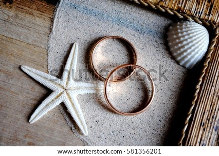 wedding rings and honeymoon Foto stock ©