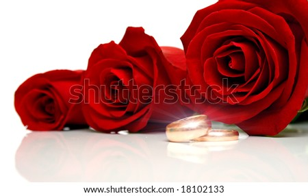Wedding Rings Red Roses Stock Images  Download 2340