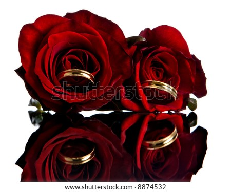 Wedding rings and roses reflected on a mirror