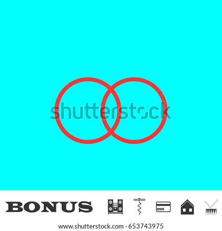 Wedding rings icon flat. Simple red pictogram on blue background. Illustration symbol and bonus icons Music center, corkscrew, credit card, house, drum
