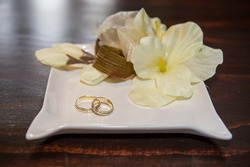 Wedding rings in a ceremonial hall