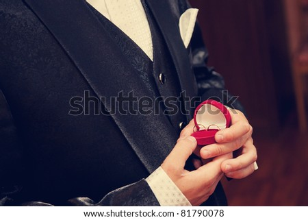 wedding rings in the hands of the groom