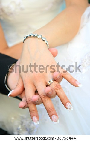 Wedding rings on hand of bride and groom