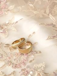 Wedding rings on needlework fabric