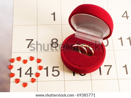 wedding rings on the calendar, Valentine's Day, wedding gift