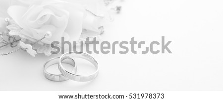 Wedding rings on wedding card on a white background, border design panoramic banner #531978373
