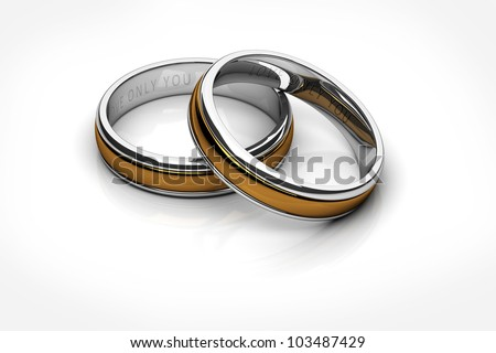 wedding rings Platinum and Gold isolated on white background