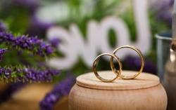 wedding rings, Rings on flower