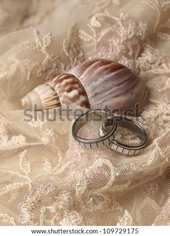 Wedding rings, shell on needled material