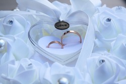 Wedding rings symbol love family. High quality photo. Selective focus