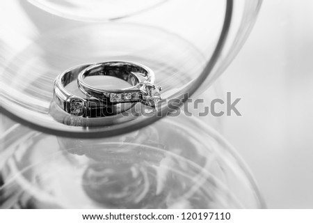 Wedding rings with diamonds on rings. - stock photo