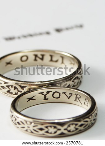 Wedding Rings With Inscription Yours Only Stock Photo 2570781