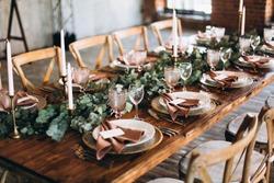 Wedding rustic style. Wedding table decoration.