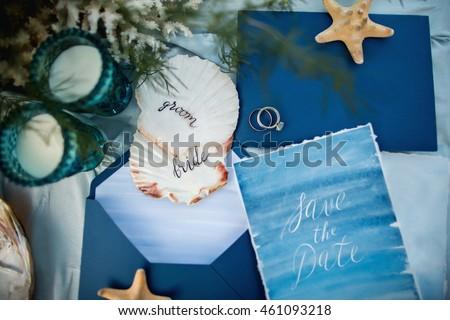 Wedding sea invitation. Save the date #461093218