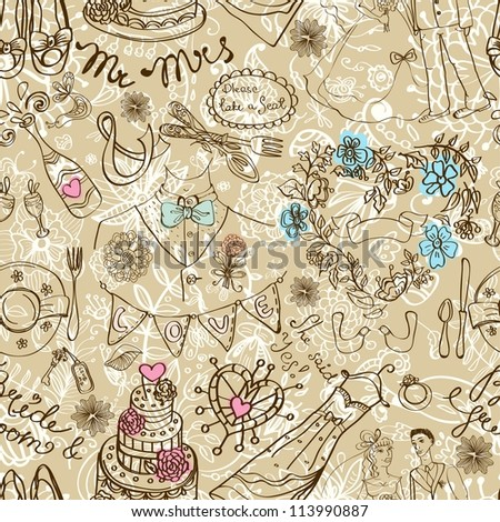 Wedding seamless pattern with doodles, illustration