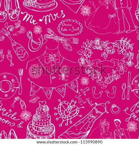 Wedding seamless pattern with doodles over pink, illustration