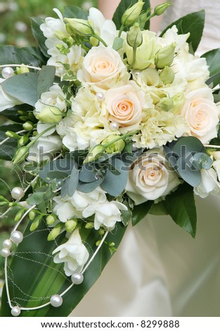 Wedding series 40. Wedding bouquet from beautiful roses