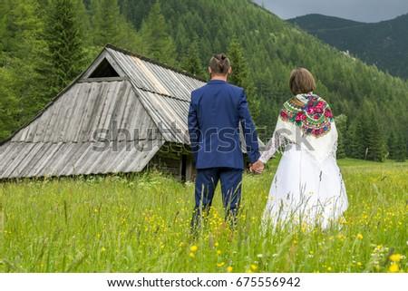 Wedding session in Jaworzynki valley, Tatra mountains. Zdjęcia stock ©