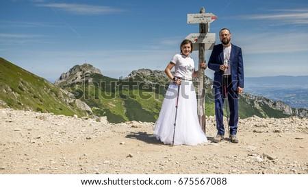 Wedding session in Tatra mountains. Zdjęcia stock ©