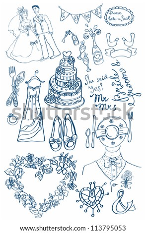 Wedding set of cute glamorous doodles for your design