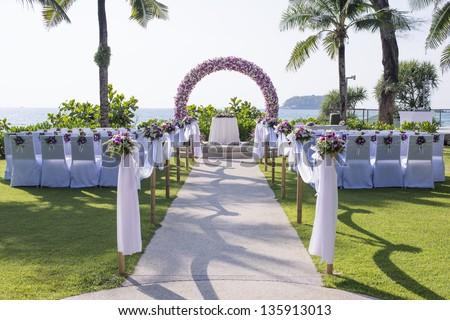 Wedding Set Up In Garden Inside Beach #135913013
