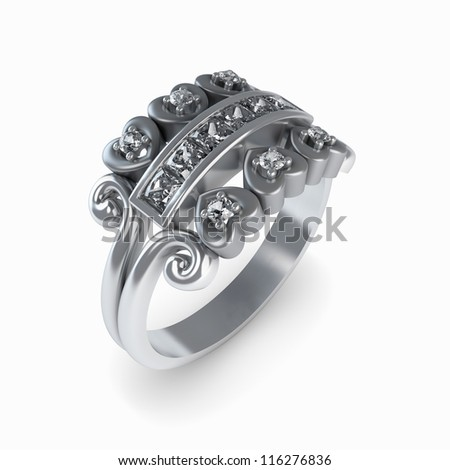 Wedding silver diamond ring isolated on white background - stock photo