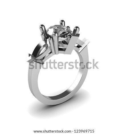 Wedding silver diamond ring isolated on white background
