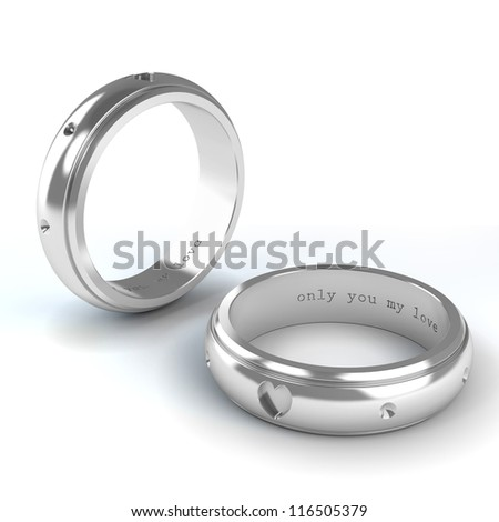 Wedding silver rings isolated on white background