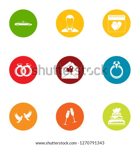 Wedding solemnity icons set. Flat set of 9 wedding solemnity icons for web isolated on white background